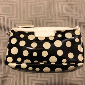 black with cream polka dot cosmetic bag